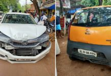 Tata Nano and honda city accident