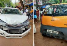 Tata Nano and honda city accident